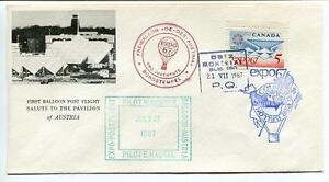 1967 Ballonpost First Post Flight Pro Juventute Aerostato Oe-dzb Expo Austria Retarder La SéNilité