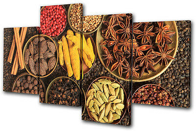 Food Kitchen Indian Spices MULTI CANVAS WALL ART Picture Print VA