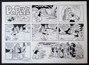 """POPEYE"" ORIGINAL SUNDAY COMIC STRIP 12/24/95 BY HY EISMAN"