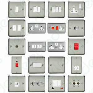 Varilight-Brushed-Matt-Chrome-Switches-amp-Sockets-with-White-Inserts