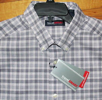 4XLT NWT Roundtree Mens LS Navy White Blue Plaid Travel Smart Shirt 3X B