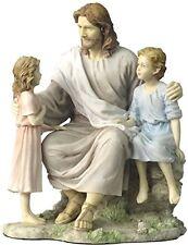 "8.25"" Jesus with Little Boy & Girl Statue Sculpture Figure Christ Catholic Decor"