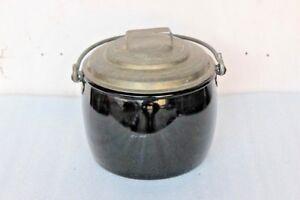 Cooking-Pot-Vintage-Enamel-Ware-Black-Kitchenware-Home-Decor-BI-2