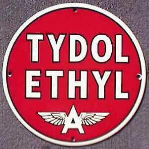 TYDOL ETHYL FLYING A PORCELAIN OVERLAY METAL SIGN *NR