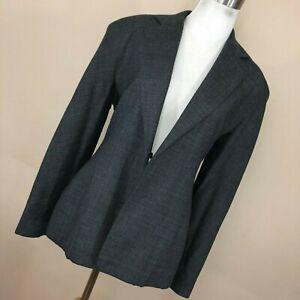 Donna-Karan-6-Blazer-Jacket-Button-Front-Dark-Gray-Lined-Wool-Classic-Womens-L1