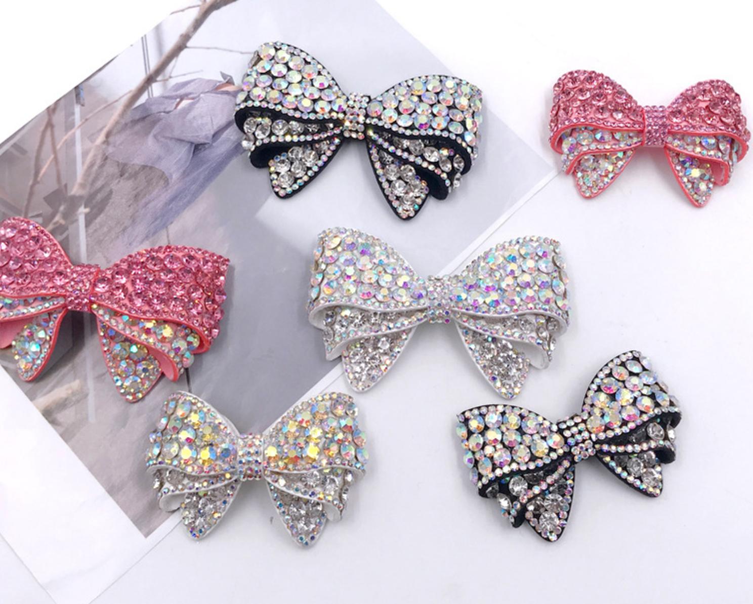 2 Pcs Rhinestone Crystal Bridal Bow Fashion Wedding Shoes Shoe Clips