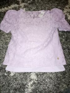 Girls-justice-puffer-sleeves-layered-lace-top-size-8-new-lavender