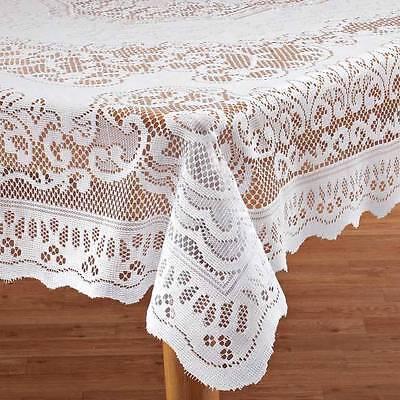 White Fleur De Lis Lace Tablecloth
