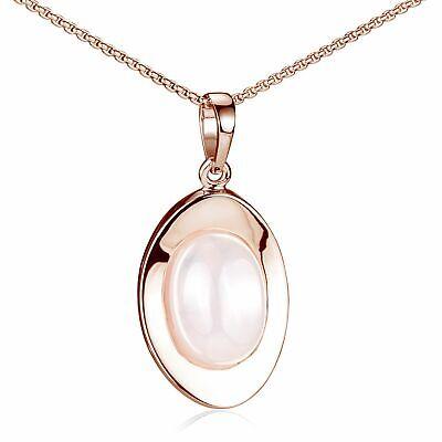 Freundschaftlich Materia Anhänger Rosegold Kette Damen Mit Rosenquarz Edelstein Oval 925 Silber