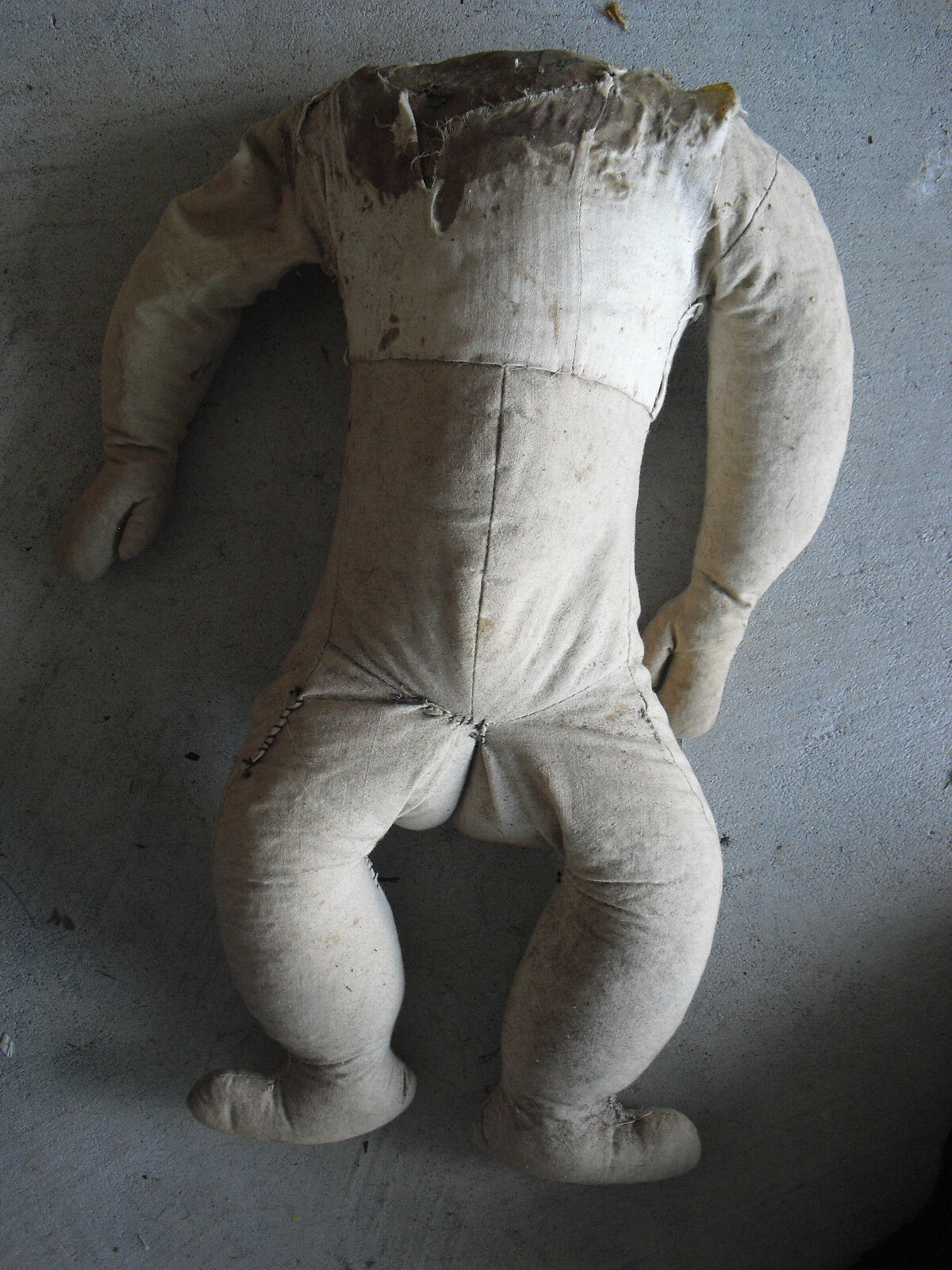 BIG Vintage 1920s Stuffed Cloth Doll Body Arms and Legs 18 1/2  Tall