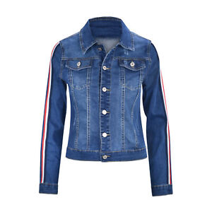 Women-039-s-Juniors-Premium-Denim-Jackets-Long-Sleeve-Jean-Coats-with-Racing-Stripes