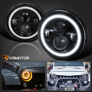 7 Inch Halo Angel Eyes Led Projector Headlights Black For