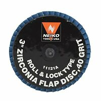 Neiko Roloc Type 3-inch Flap Disc, Zirconia, 40 Grit, 10 Pieces, New, Free Shipp on sale
