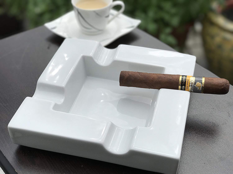 """Zigarren Aschenbecher aus Porzellan """"Lounge"""" Zigarrenascher mit 4 4 4 Ablagen 7cbb9f"""