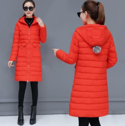 Winter Womens Thick Cotton Down Parka Coat Girls Hooded Jacket Long Outwear V942