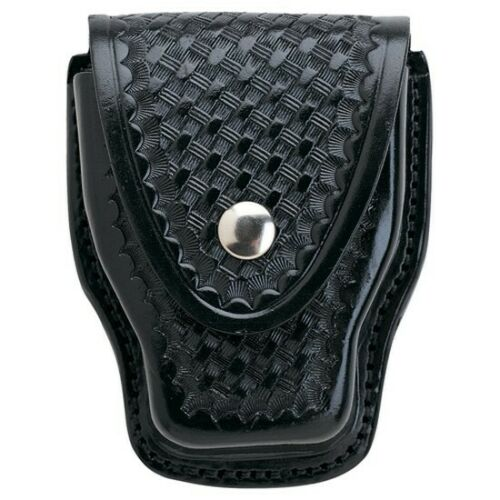 Aker Leather A508-BW-B 508 Black Basketweave Handcuff Case w//Brass Snap