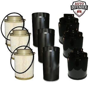 6 fuel 3 oil filters for 2013 2017 dodge ram 2500 3500. Black Bedroom Furniture Sets. Home Design Ideas