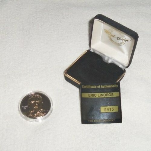 NHL Eric Lindros Philadelphia Flyers Solid Silver Coin + Gold Limited Edition