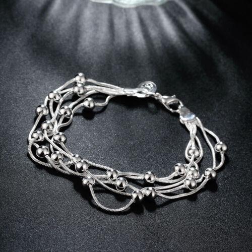 Classic Women Girls 925 Sterling Silver Filled Lovely Beads Ball Bracelet Chain