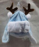 Baby Boys Antler Ear Flap Hat Blue Cap Winter Christmas Newborn Infant