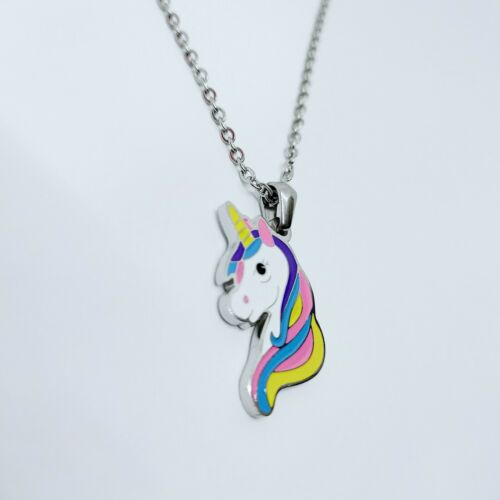 Unicorn Mickey Mouse Pendant Necklace Earrings Made Of Stainless Steel *UK*