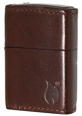 New Leather Zippo Light Brown Zippo Fire Logo Cowhide Oil ...  New Leather Zip...
