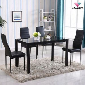 Image Is Loading 5 Piece Dining Table Set 4 Chairs Glass