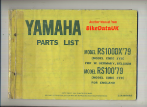 Yamaha-RS100-1979-gt-gt-Genuine-Parts-List-Catalog-Book-Manual-RS-100-DX-1Y9-BX76