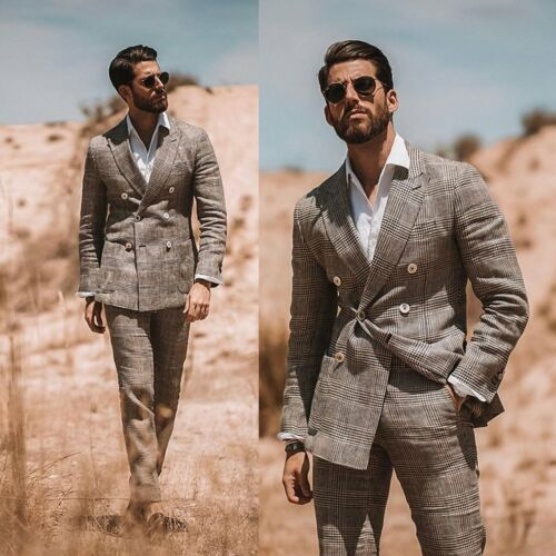 Brown Men/'s Suit Double Breasted Houndstooth Plaid 2 Piece Formal Custom Made