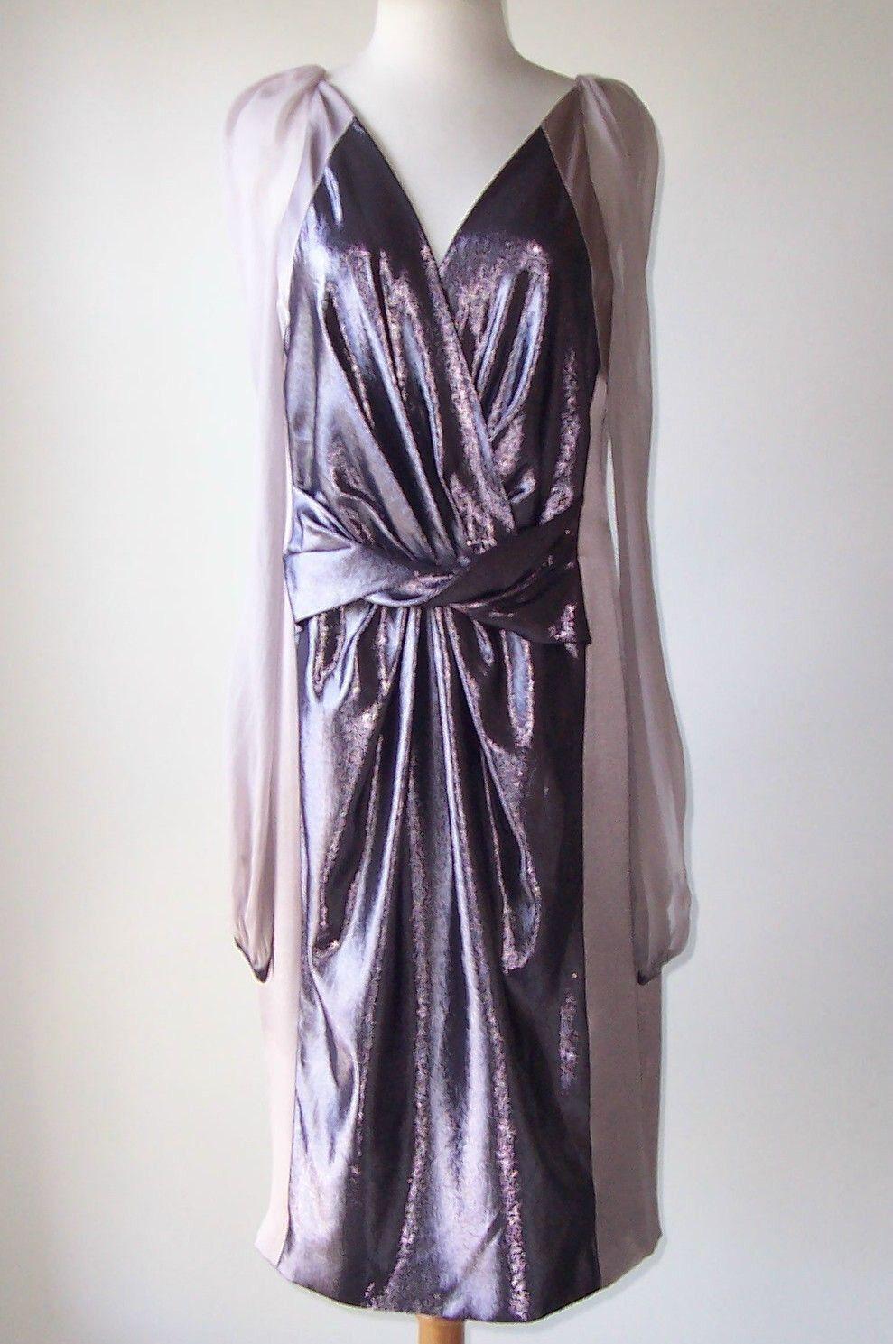 ALBERTA FERRETTI lilac Silk Silk Sleve Metallic Twist Front Dress 44 8