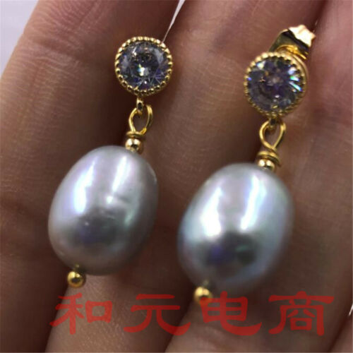 11-13 mm énorme Gray Pearl Boucles d/'oreilles OLIVINE 18K Placage Or Naturel AAA Earbob