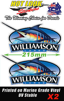2 WILLIAMSON LURES MARLIN STICKERS FISHING REEL ROD DECAL SUIT BOAT  BAIT BOX