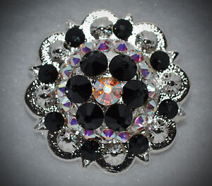Crystal Berry Concho ~ Handcrafted with black & AB  Swarovski Elements