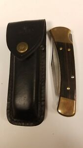BUCK-110-C-FOLDING-LOCKBACK-HUNTING-KNIFE-Leather-Sheath-Nice
