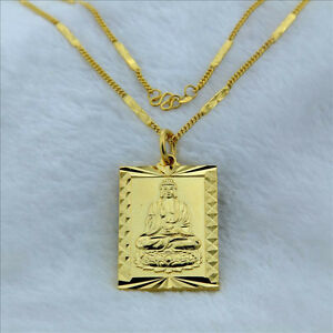 Cool 24k gold plated buddha pendant women men necklace 2mm 18 jp117 image is loading cool 24k gold plated buddha pendant women men mozeypictures Images
