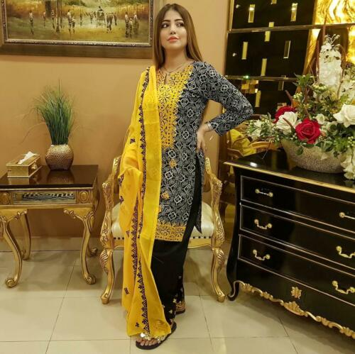 Pakistani AJRAK 3pc linen embroidered shalwar suit winter collection for women