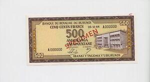 SPECIMEN-BURUNDI-500-Francs-Banknote-1964-Pick-13-UNC-condition