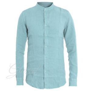 Camicia-Uomo-Collo-Coreano-Tinta-Unita-Celeste-Lino-Maniche-Lunghe-Casual-GIOSAL