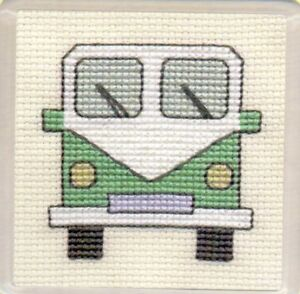 Textile-Heritage-Cross-Stitch-Coaster-Kit-034-Campercans-Green-034