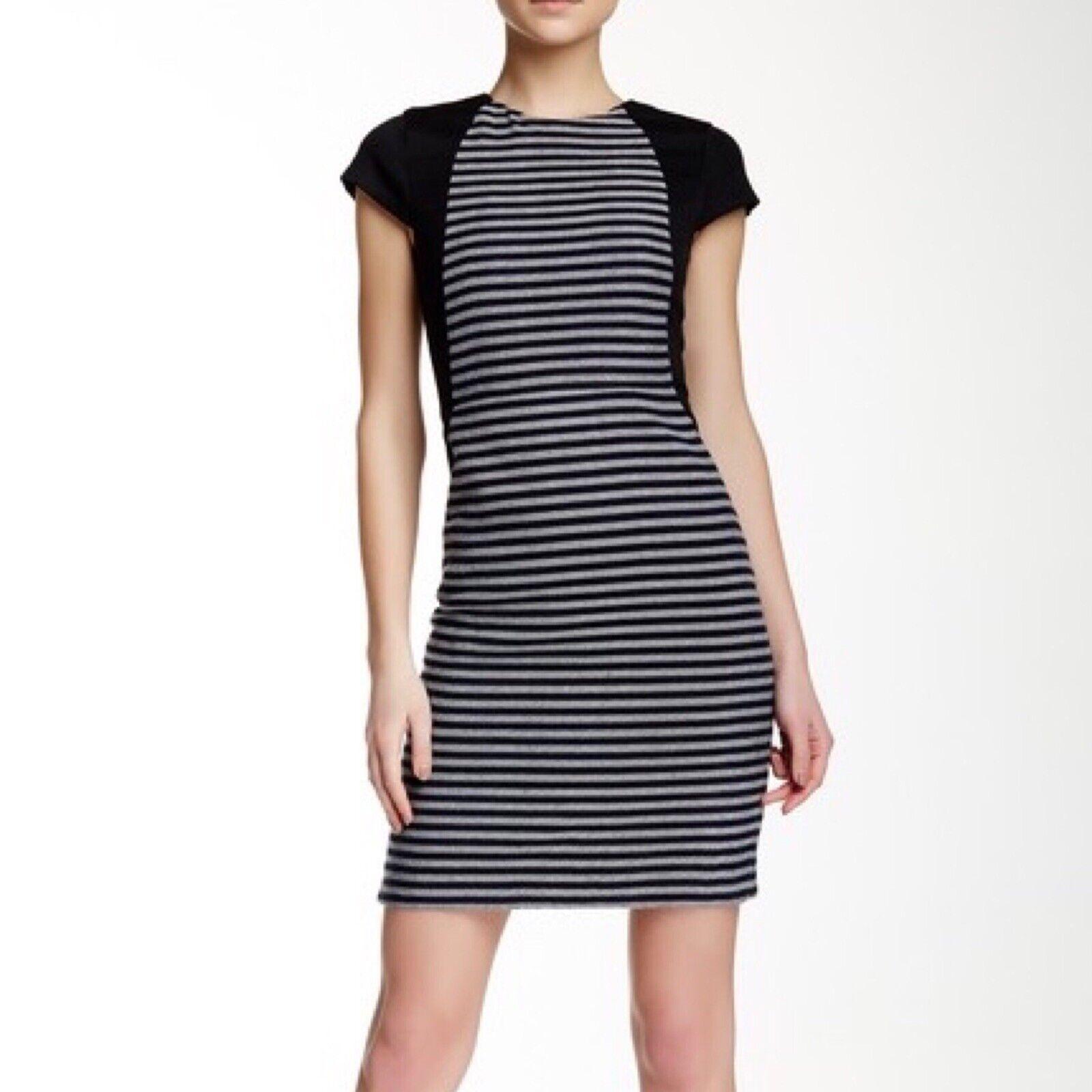 J. Crew Factory Suiting Tweed Striped Pencil Dress Navy Cream Wool Größe 4
