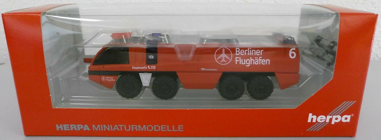NEUF  HERPA 090377 roses Bauer Design-panther  aéroport pompiers Berlin  1 87
