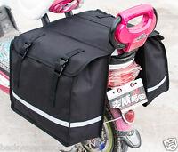 Black Bicycle Bike Rack Back Rear Seat Tail Carrier Double Pannier Bag