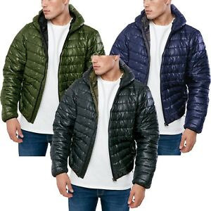 Mens Padded Bubble Puffer Quilted Hooded Jacket Coat Warm Winter Zip ... f7c1143fc
