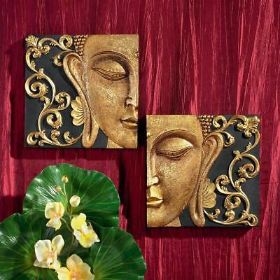 Set: Zen Gallery Bali Eastern Diptych Asian Buddha Enlightenment Wall Decor