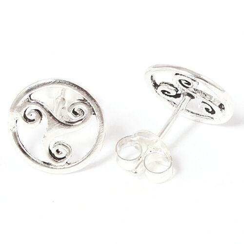 Ohrstecker Keltische Triskele  Echt Silber 925-Silber plus Acryl-Döschen Neu