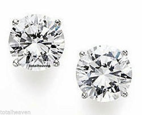 9mm Solid 14K White gold CZ Stud Earrings 6 Carat total weight GORGEOUS