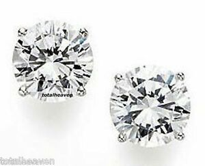 Details About 9mm Solid 14k White Gold Cz Stud Earrings 6 Carat Total Weight Gorgeous
