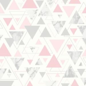 Chantilly-Geometrique-Marbre-Triangle-Papier-Peint-Metallique-Debona-5013-Rose