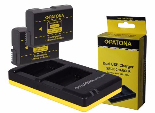 dual-cargador para Nikon d5200 d5500 d5600-en-el14 d5300 2 x patonas para batería
