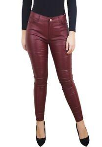66432091a2ac9a Caricamento dell'immagine in corso Pantaloni-donna-aderenti-skinny-eco-pelle -elasticizzati-push-